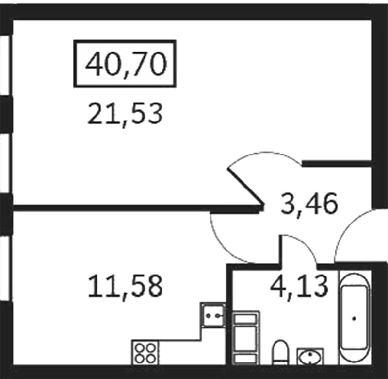 Планировка Однокомнатная квартира площадью 40.7 кв.м в ЖК «Елагин апарт»