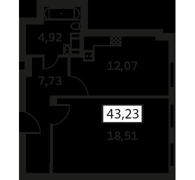 Планировка Однокомнатная квартира площадью 43.23 кв.м в ЖК «Елагин Апарт (руки)»