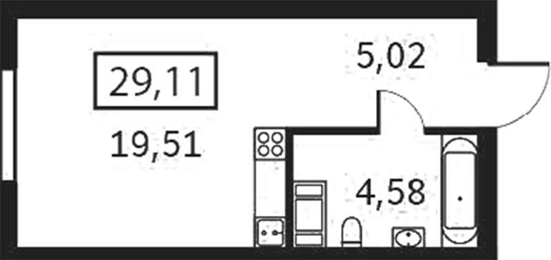 Планировка Студия площадью 29.11 кв.м в ЖК «Елагин апарт»