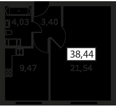 Планировка Однокомнатная квартира площадью 38.44 кв.м в ЖК «Елагин Апарт (руки)»