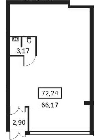 Планировка Коммерческое помещение площадью 72.24 кв.м в ЖК «Елагин апарт»