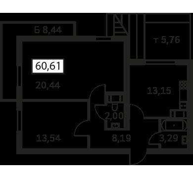 Планировка Двухкомнатная квартира площадью 60.61 кв.м в ЖК «Елагин Апарт (руки)»