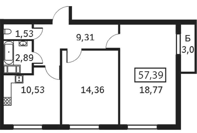 Планировка Двухкомнатная квартира площадью 57.39 кв.м в ЖК «Елагин апарт»