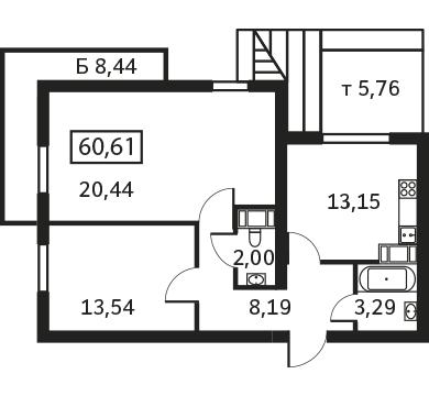 Планировка Двухкомнатная квартира площадью 60.61 кв.м в ЖК «Елагин апарт»