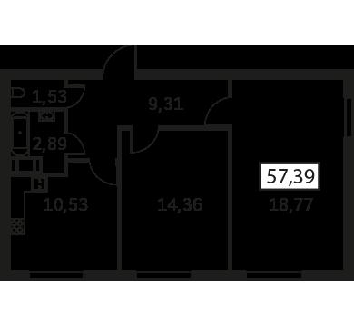 Планировка Двухкомнатная квартира площадью 57.39 кв.м в ЖК «Елагин Апарт (руки)»