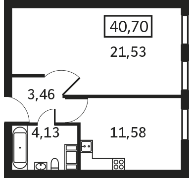 Планировка Однокомнатная квартира площадью 40.7 кв.м в ЖК «Елагин Апарт (руки)»