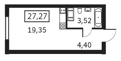 Планировка Студия площадью 27.27 кв.м в ЖК «Елагин апарт»